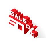 Vendita 50% su fondo bianco Fotografia Stock