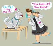 Vendita veterinaria un collare con agire sveglio del fumetto del cane Immagini Stock