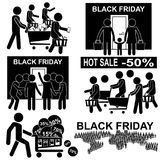 Vendite calde di Black Friday Insieme della figura icone del bastone Fotografie Stock