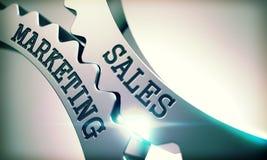 Vendite che commercializzano - messaggio sul meccanismo degli ingranaggi metallici 3d Fotografia Stock Libera da Diritti