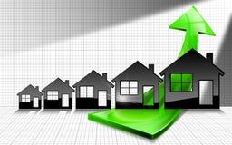 Vendite crescenti di Real Estate - grafico con le Camere Immagine Stock Libera da Diritti