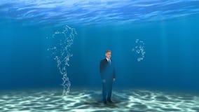 Vendite di affari che commercializzano il Underwater dell'uomo Fotografia Stock Libera da Diritti