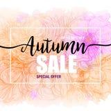 Vendite di autunno del manifesto su un fondo floreale dell'acquerello Carta, etichetta, aletta di filatoio, elemento di progettaz Immagine Stock