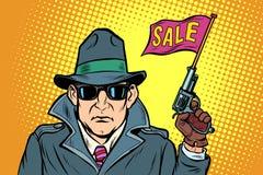 Vendite di inizio dell'agente segreto della spia illustrazione vettoriale
