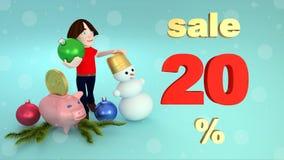 Vendite di Natale e del nuovo anno 20 per cento rappresentazione 3d illustrazione di stock