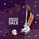 Vendite di orario invernale di vettore di vendita dell'attrezzatura delle merci degli sport invernali di Natale le grandi di nata illustrazione vettoriale