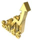Vendite di statistiche grafiche in oro Immagine Stock
