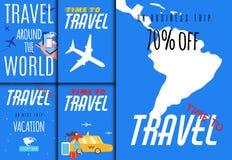 Vendite di viaggio intorno al mondo fissate per l'applicazione dell'agenzia di giro illustrazione vettoriale