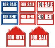 Vendite e segno di affitto Fotografie Stock Libere da Diritti