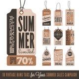 Vendite Hang Tags di estate Fotografie Stock