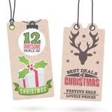 Vendite Hang Tags di Natale Fotografie Stock Libere da Diritti
