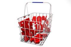 Vendite nel cestino della spesa Fotografia Stock