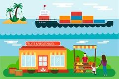 Venditore ambulante con i frutti della stalla e l'illustrazione di vettore del trasporto del mare del carico della nave Fotografia Stock