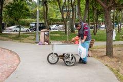 Venditore ambulante delle castagne a Costantinopoli, Turchia fotografia stock