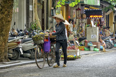 Venditore ambulante vietnamita a Hanoi, Vietnam Immagine Stock