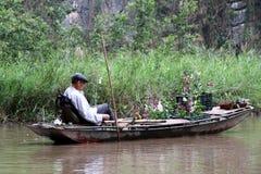 Venditore asciutto del fiore di Ninh Bihn della baia del halong - Vietnam Asia fotografia stock