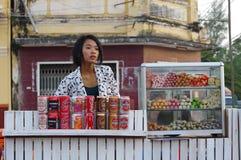 Venditore cambogiano Fotografia Stock