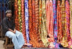 Venditore dei sari Fotografia Stock Libera da Diritti