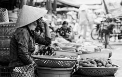 Venditore del mercato di Hoi An Fotografie Stock