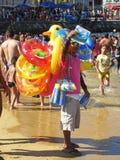 Venditore della spiaggia alla spiaggia pubica di Acapulco Fotografia Stock