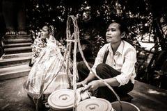 Venditore della stalla dell'alimento della via del deserto in Cambogia Fotografia Stock