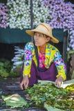 Venditore delle verdure nel Myanmar Immagini Stock Libere da Diritti