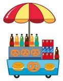Venditore di alimento con le bevande e il pretzle royalty illustrazione gratis