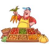 Venditore di verdure allegro al contatore con una carota Immagine Stock