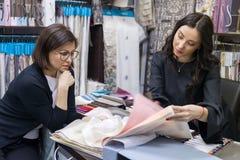 Venditore - il progettista del tessuto consiglia il compratore di donna immagine stock libera da diritti