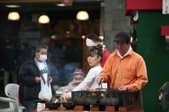 Venditori ambulanti giapponesi della famiglia Immagine Stock