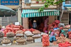 Venditori della cipolla a Hanoi, Vietnam Fotografia Stock