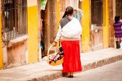 Venditori tradizionali indigeni a San Miguel Fotografia Stock