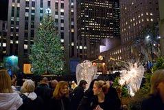 Vendo o centro de Rockefeller da árvore Fotografia de Stock Royalty Free