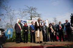 Vendola in 25 april 2010 Italië, marzabotto stock fotografie