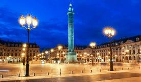 Vendome专栏,地方Vendome在晚上,巴黎,法国 库存图片