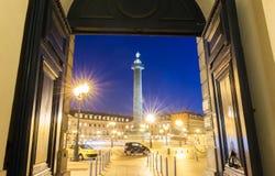 Vendome column at night, Paris, France. Royalty Free Stock Image