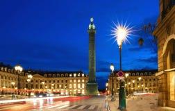 The Vendome column , the Place Vendome at night, Paris, France. Vendome column with statue of Napoleon Bonaparte, on the Place Vendome at night, in France Stock Image