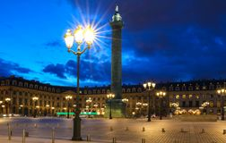 The Vendome column , the Place Vendome at night, Paris, France. Vendome column with statue of Napoleon Bonaparte, on the Place Vendome at night, in France Royalty Free Stock Photos