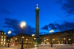 The Vendome column , the Place Vendome at night, Paris, France. Vendome column with statue of Napoleon Bonaparte, on the Place Vendome at night, in France Stock Photo