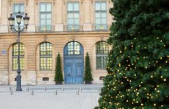 Vendome square decorated for Christmas Stock Photography