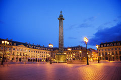 Vendome square at night, Paris Royalty Free Stock Images