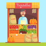 Vendor Behind Market Counter With Assortment Of Vegetables. Bright Color Graphic Cool Flat Vector Detailed Illustration Stock Photo