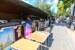 Vendor booths at Seine Royalty Free Stock Images