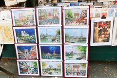 Vendor booths at Seine Royalty Free Stock Photo