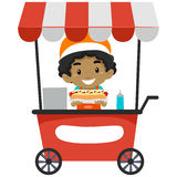 Vendor Boy Selling Hotdog on Food cart. Vector Illustration of a Vendor Boy Selling Hotdog on Food cart Stock Photography