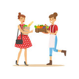 Vendor Bringing Crate Of Vegetables To Buyer, Farmer Working At The Farm And Selling On Natural Organic Product Market. Cartoon Happpy Character Growing Crops Royalty Free Stock Images