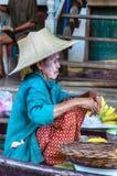Vendor at Damnoen Saduak Floating Market, Thailand. Royalty Free Stock Images