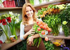 Vendor of flowers Royalty Free Stock Photography