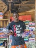 Vendor in front of his fabric store, Sandaga Market stock photos