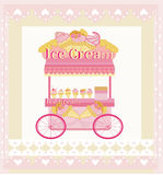 Vendor ice cream mobile booth,  abstract card Stock Photo